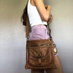 Fossil Tan Sasha Genuine Leather Crossbody Bag